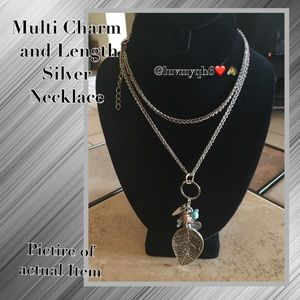 Silver Necklace Multi Charm and Length